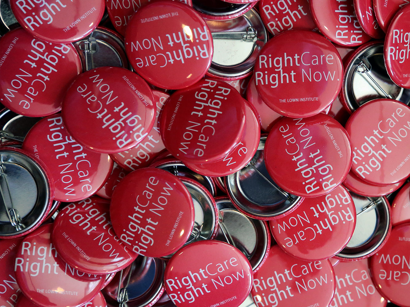 buttons with right care right now on them